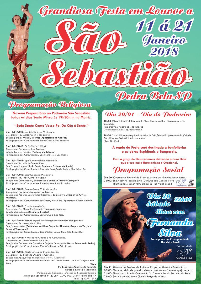 Cartaz Festa de São Sebastião 2018